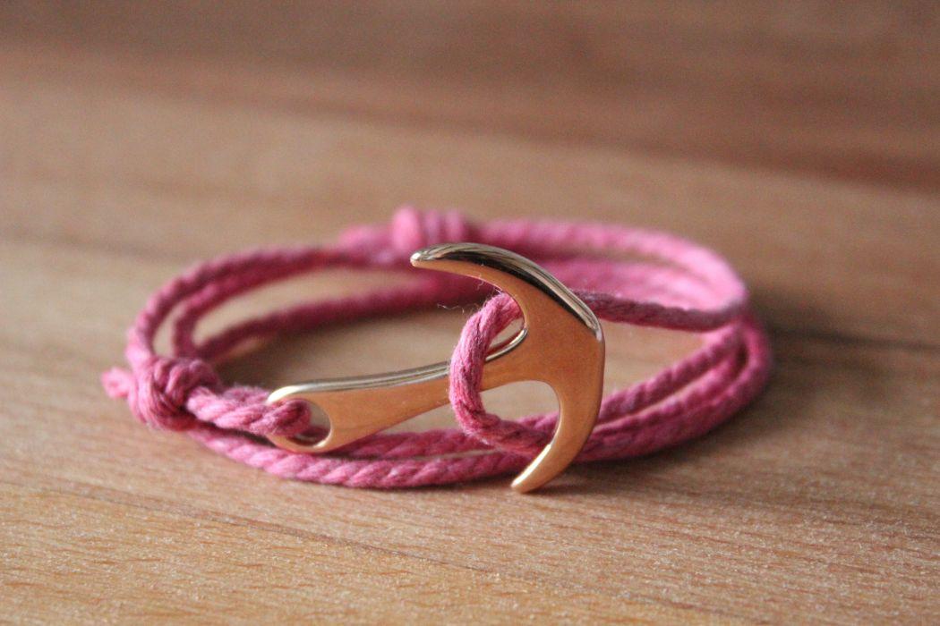 Bracelet MATHA Rose et Or rose, ancre et cordage