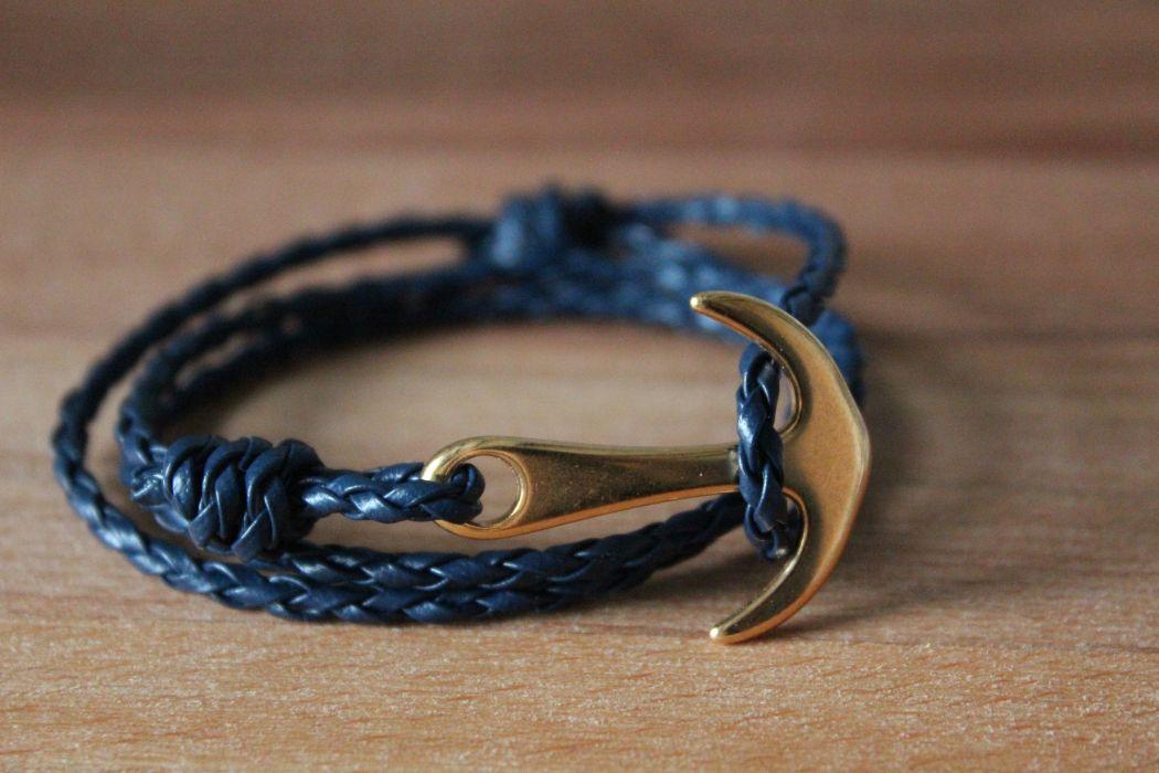 Bracelet MATHO Homme Bleu et Or, ancre et cordage en simili cuir